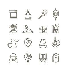 islamic religion thin line icons vector image