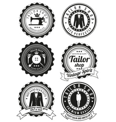 Set of black round badges for tailor shops vector image
