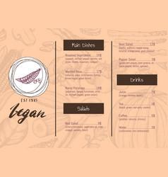 vegan restaurant menu identity hand drawn design vector image