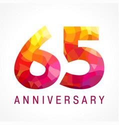 65 anniversary red logo vector
