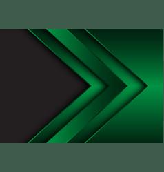 Abstract green metallic arrow direction with grey vector