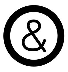 ampersand black icon in circle isolated vector image
