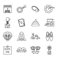 April fools dayicons set outline style vector image