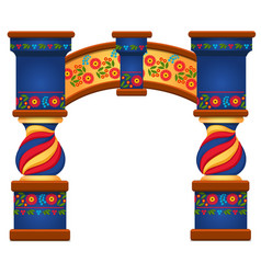 Arch with ornament in slavic style isolated vector