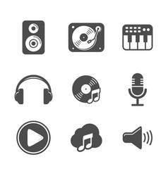 Audio icon set black version design vector