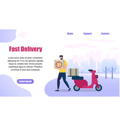 bearded guy delivery service order shipping pizza vector image