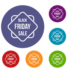 Black friday sale sticker icons set vector