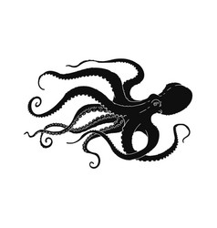 black octopus swimming to side - hand drawn vector image