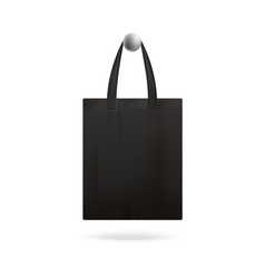 Black realistic tote bag mockup hanging on vector