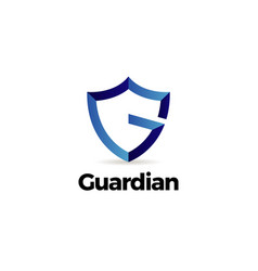 blue letter g shield guardian logo template vector image