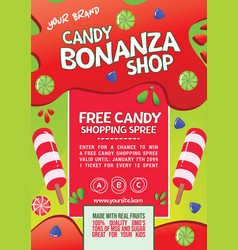 bright candy shopping spree flyer vector image