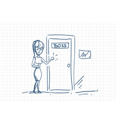 Business woman knock boss door doodle over squared vector