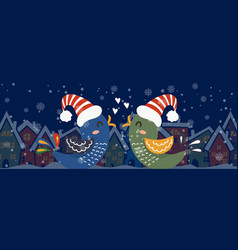 cartoon banner for holiday theme with two birds vector image