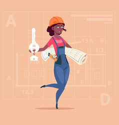 cartoon female builder african american holding vector image