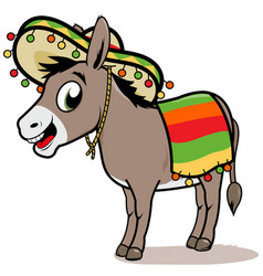Cartoon mexican donkey vector