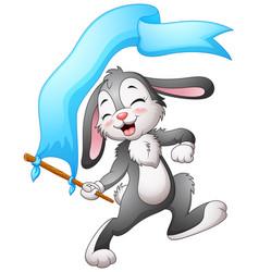 Cartoon rabbit waving flags blue ribbon vector