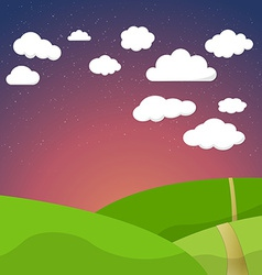 Cartoon Retro Night Sky With Field Clouds and vector