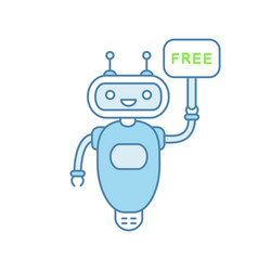 chatbot with free in speech bubble color icon vector image