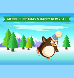 christmas and new year penguin skating in forest vector image