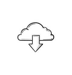 cloud with arrow down hand drawn outline doodle vector image