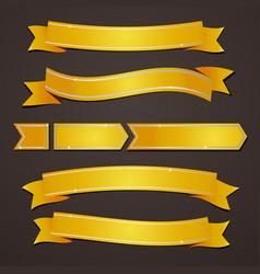Collection set of variation gold elegant ribbons vector