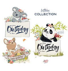 Collection with cute birthday animals with flowers vector