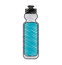 Color crayon stripe cartoon sports bottle for vector