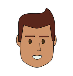 Color image cartoon front face man with hairstyle vector