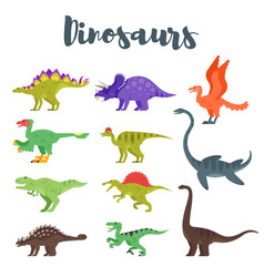 Colorful prehistoric dinosaurs vector