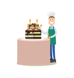 Cook people in flat style vector
