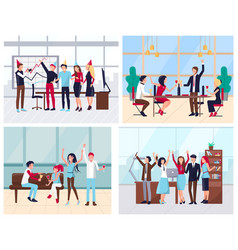corporate party team celebration in office vector image