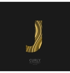 Curly textured Letter J vector