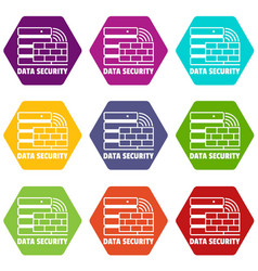 data security icons set 9 vector image