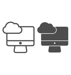 desktop cloud computing line and glyph icon vector image