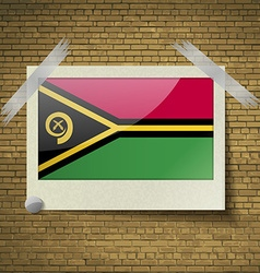 Flags Vanuatuat frame on a brick background vector image