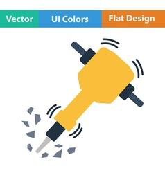 Flat design icon of Construction jackhammer vector