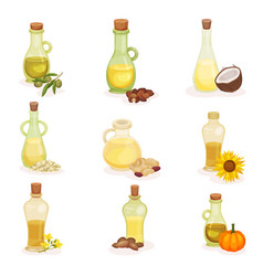 Flat set of glass bottles of different oils vector