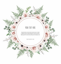 Floral wreath with green eucalyptus leaves flower vector