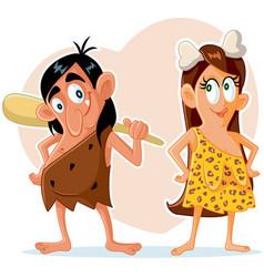 funny prehistoric couple cartoon vector image