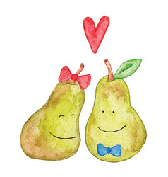 Funny watercolor pears love each other heart love vector