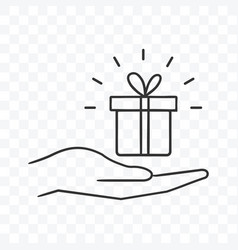 Gift box present on palm hand icon on transparent vector