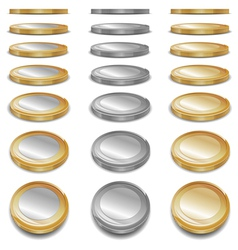 Gold and sliver coins vector