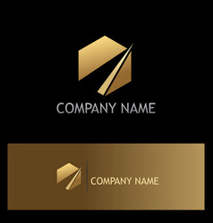 gold polygon business company logo vector image