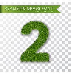Grass number 2 green number two isolated on vector