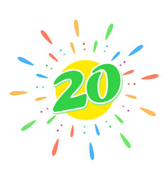 green 20 in middle fireworks us vector image