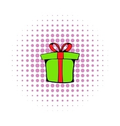 Green gift box icon comics style vector