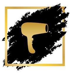 hair dryer sign golden icon at black spot vector image vector image