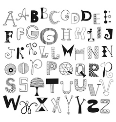 Hand drawn alphabet letters from A to Z vector image