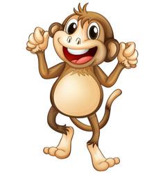 happy monkey dancing alone vector image