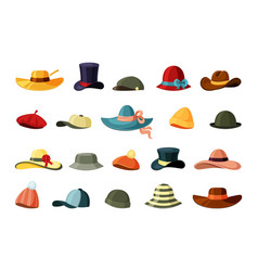 hats and color caps set retro brown trilby trendy vector image